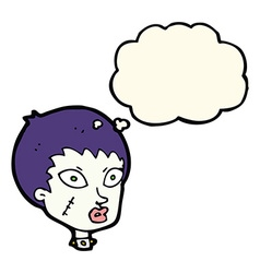 Cartoon female zombie head with thought bubble vector
