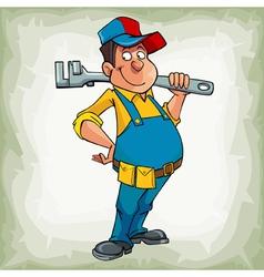 Cartoon smiling man plumber in uniform standing vector