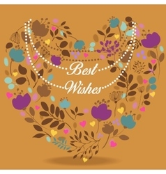 Colorful floral heart with text best wishes vector