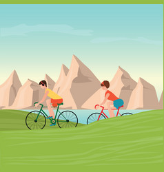 couple riding bicycles on mountain view vector image vector image