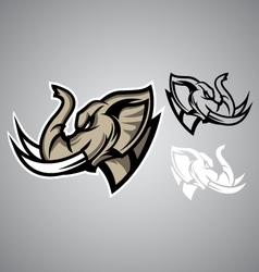 Elephant head linethai emblem logo vector