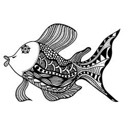 fish in zentangle vector image vector image