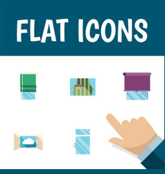 Flat icon frame set of glazing cloud balcony and vector