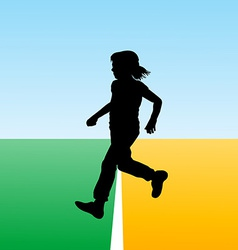 Girl crossing the finish line concept for new begi vector image vector image