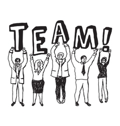 Group business people team sign monochrome vector image