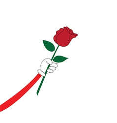 Hand with red rose vector image vector image
