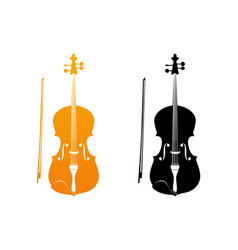 icons of fiddle in golden and black colors vector image vector image