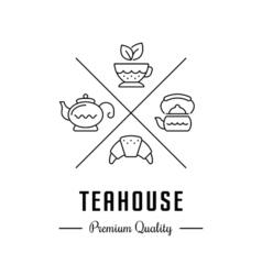 Logo teahouse and tea shop vector