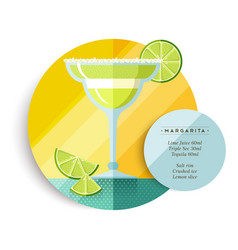 Margarita drink recipe menu for cocktail party vector image