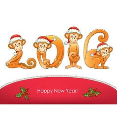 New year card monkey vector image