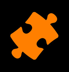Puzzle piece sign orange icon on black background vector