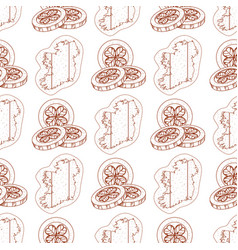 Seamless pattern with contour map of ireland and vector