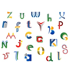Set of full alphabet letters and icons vector image