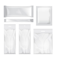 Set of transparent and white blank foil bag vector