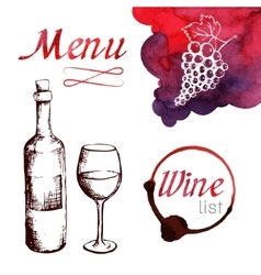 Sketch of wine with watercolor stains vector