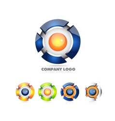 Sphere logo set 3d icon vector image