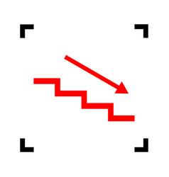 stair down with arrow red icon inside vector image