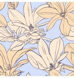 Vintage magnolia seamless pattern vector image vector image