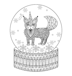 Zentangle snow globe with maic cat like unicorn vector