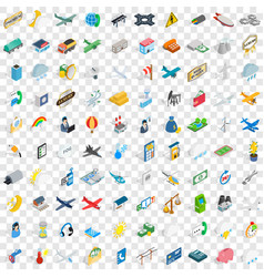 100 plane icons set isometric 3d style vector