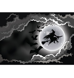 Halloween wicked witch silhouette background vector