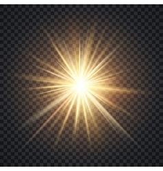 Realistic starburst lighting effect yellow vector