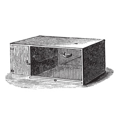 Mouse cage vintage engraving vector image