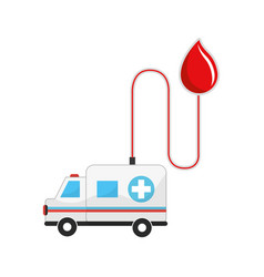 Drop transfusing blood in the ambulance car vector