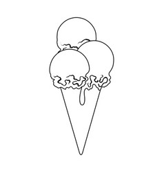 The ice cream balls in wafflesummer rest single vector