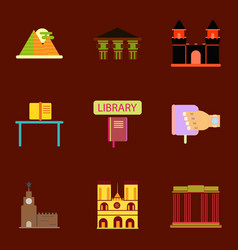 Travel famous monuments of world history book vector