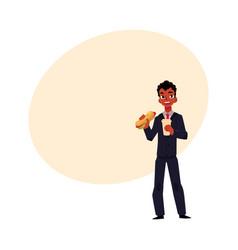 Black african businessman eating sandwich holding vector