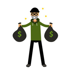 Robber character standing with two money bags vector