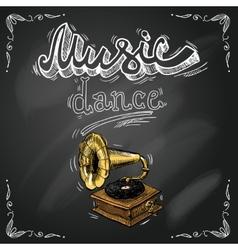 Retro vintage gramophone poster vector