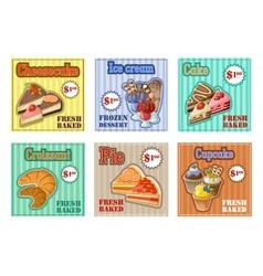 Set of baking menu card vector image