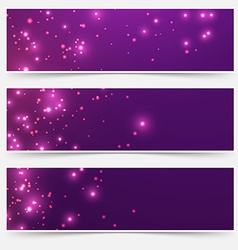 Bright glittering sparkle flare headers set vector
