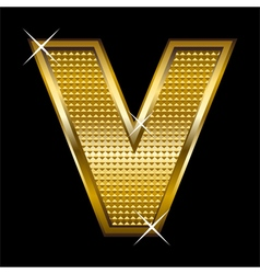 Golden font type letter v vector