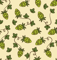 Hops seamless watercolor pattern with hops flower vector