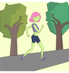 Girl run morning street vivid color vector