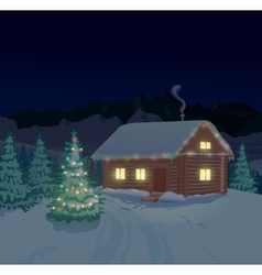 Beautiful winter landscape with house vector