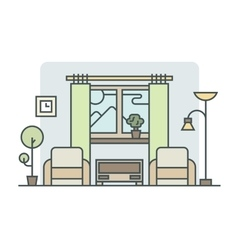 Living room linear style vector