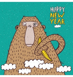 Happy new year monkey with banana vector
