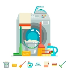 Cleaning washing concept supplies icons flat vector