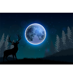 Silhouette of a deer standing on a hill at night vector