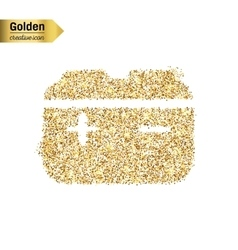 Gold glitter icon of accumulator isolated vector