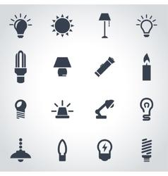 Black light icon set vector