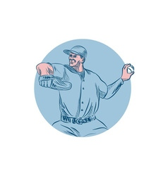 Baseball Pitcher Throwing Ball Circle Drawing vector image vector image