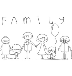 Big family outline vector