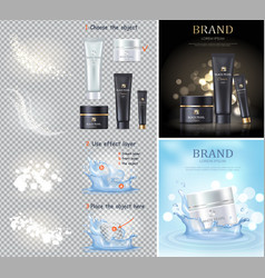 black and white pearl cream set vector image vector image
