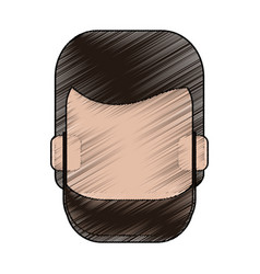 Color pencil faceless front view man with beard vector