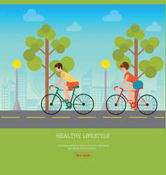 couple riding bicycles on road vector image vector image